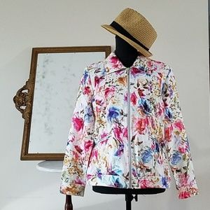 NEW Christopher & Banks Floral Jean Jacket Style M